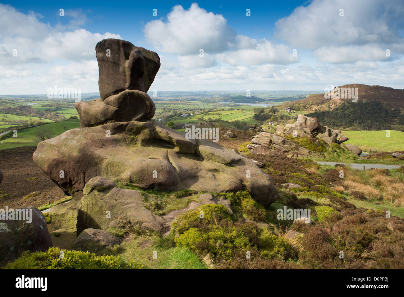 Ramshaw Rocks, a gritstone escarpment near The Roaches in the Peak District, Staffordshire, UK. - Stock Image