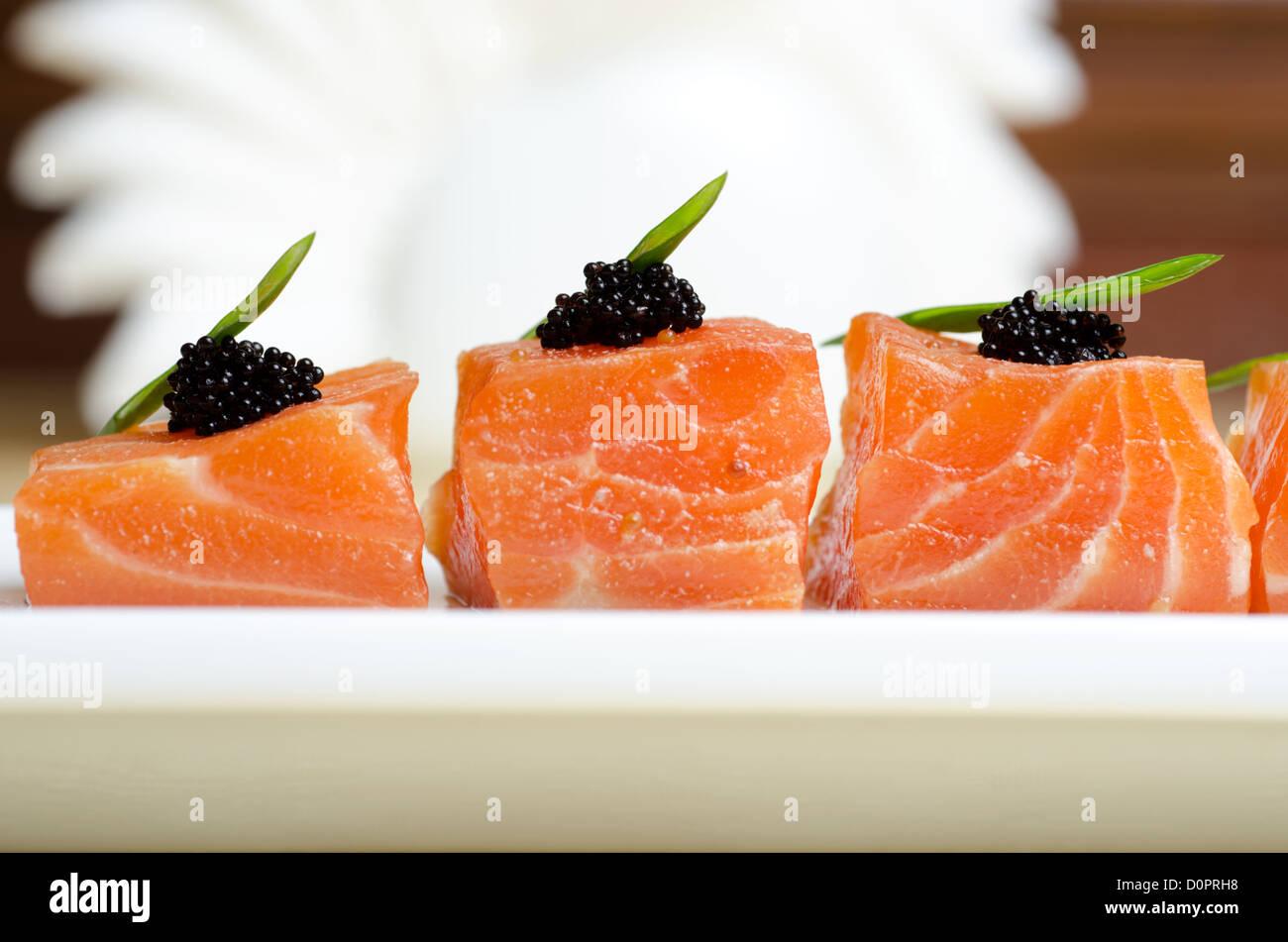 Salmon Slices - Stock Image