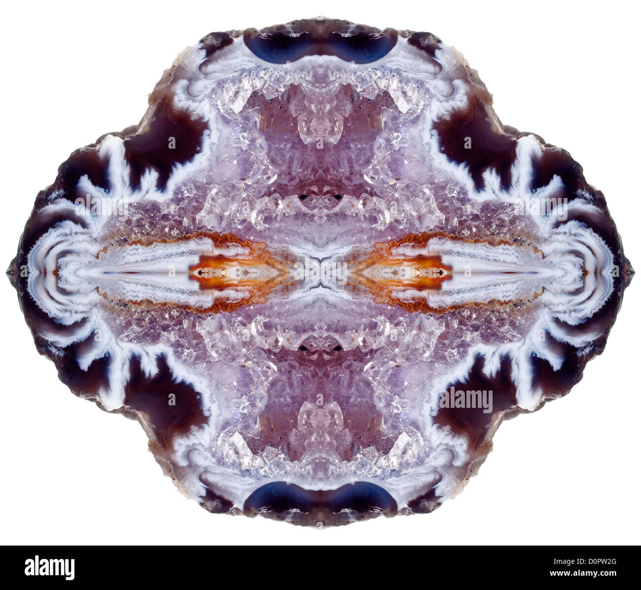 Geode, sliced open to reveal crystals and bands of agate - repeated to form symmetrical pattern - Stock Image