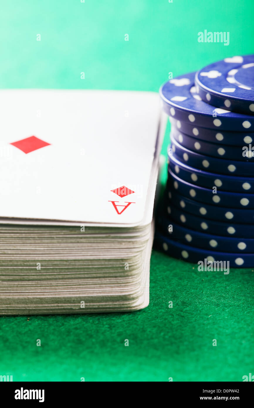 Poker chips and cards - Stock Image