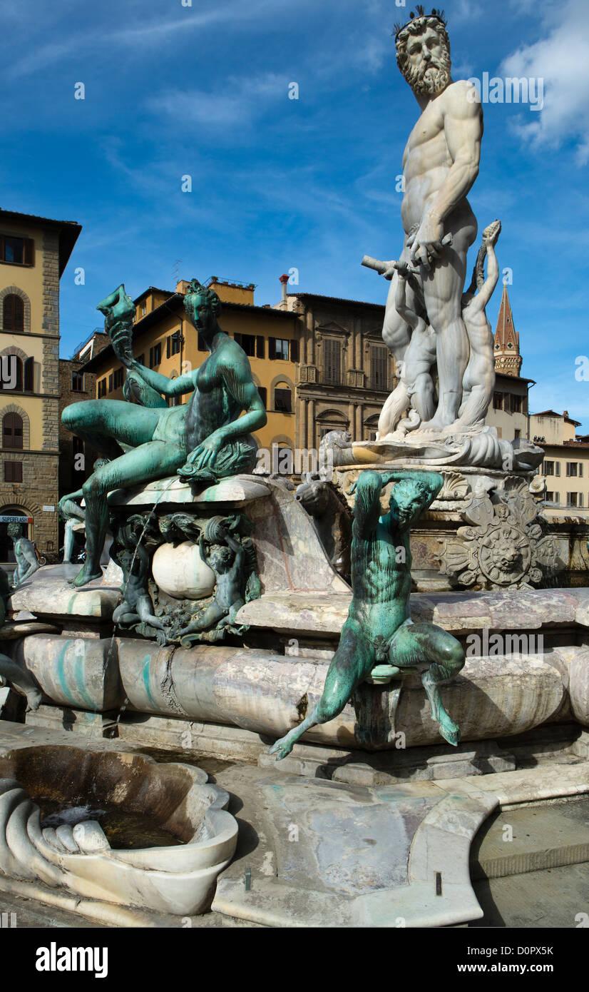 Fountain of Neptune, Piazza della Signoria, Florence, Tuscany, Italy - Stock Image