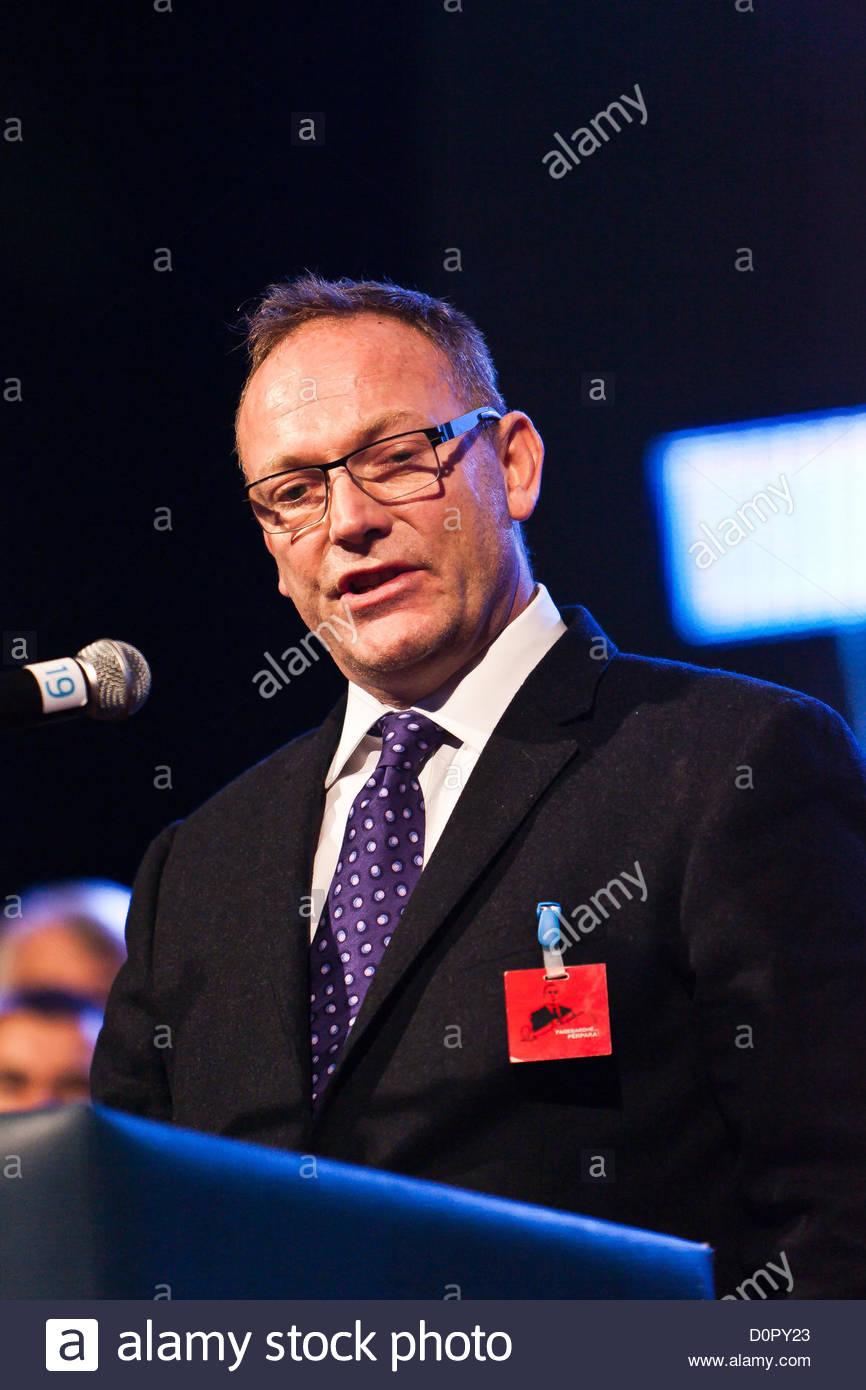 Nov. 29, 2012 - Mr. emerson one of Haradinaj's lawyer speaking to Kosovo albanians audience in Pristina, Kosovo's Stock Photo
