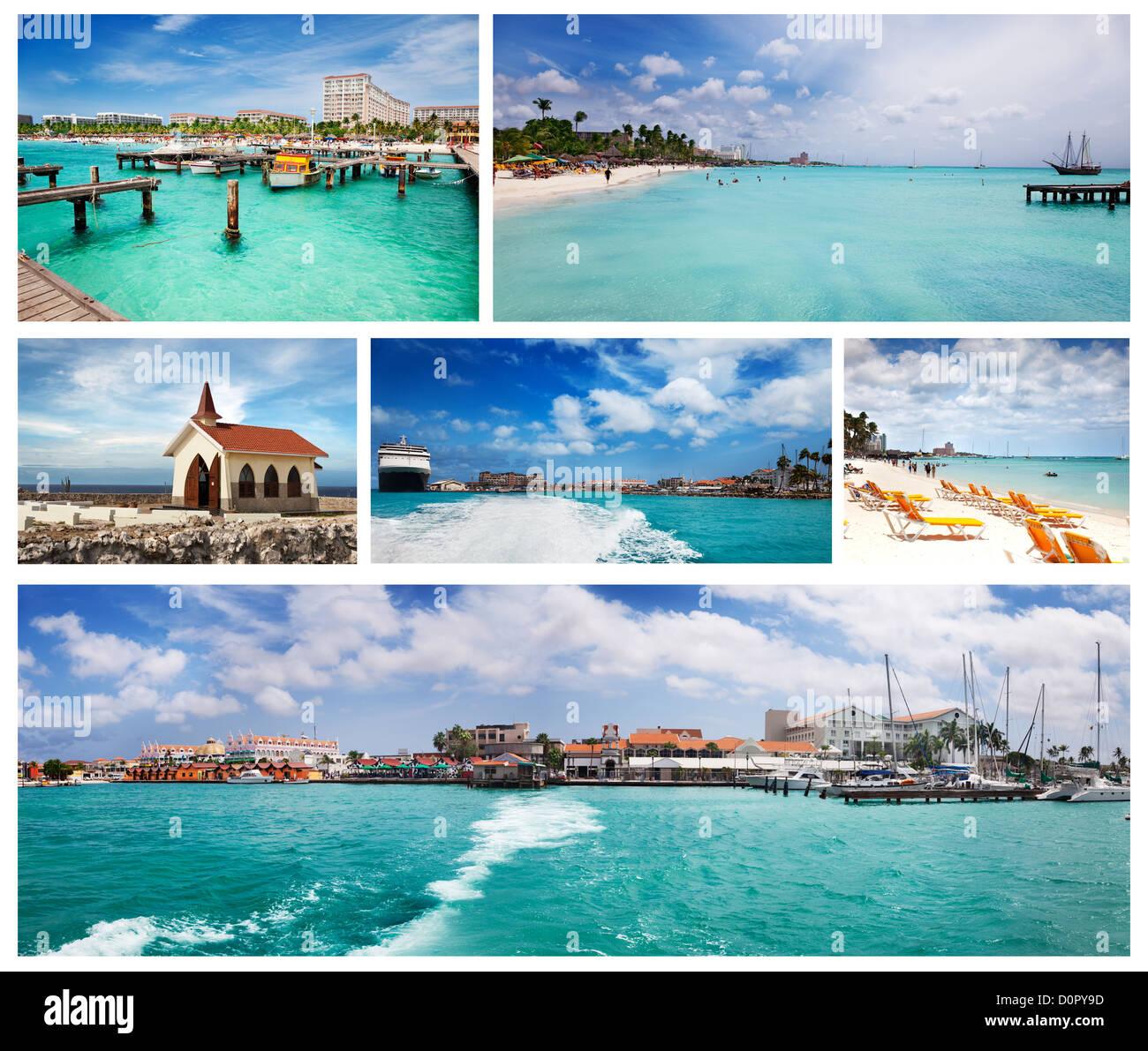 Views of Palm Beach, Oranjestad and the Chapel, Aruba - Stock Image