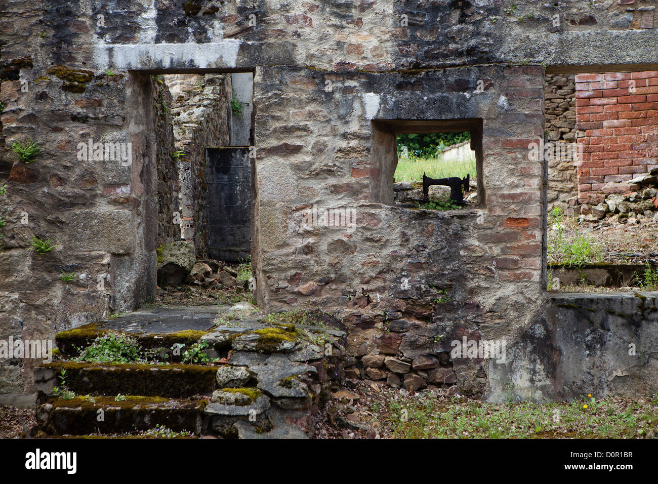the ruins of the Nazi atrocity of 10th June 1944 at Oradour sur Glane, the Limousin, France - Stock Image
