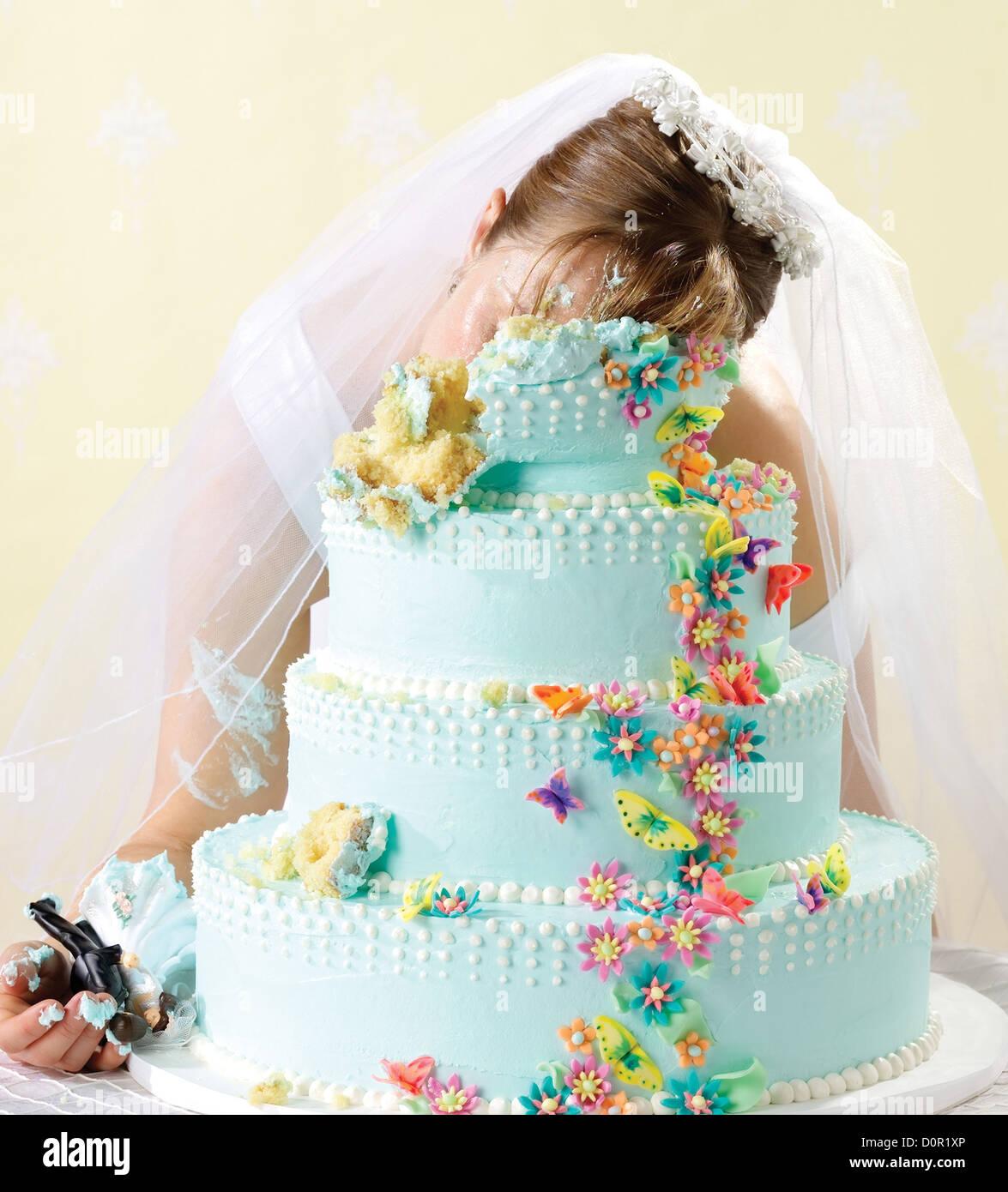 Crime scene of bride killed in her wedding cake Stock Photo