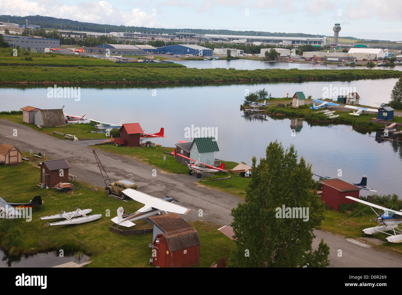Aerial of Lake Hood, Anchorage, Alaska. - Stock Image