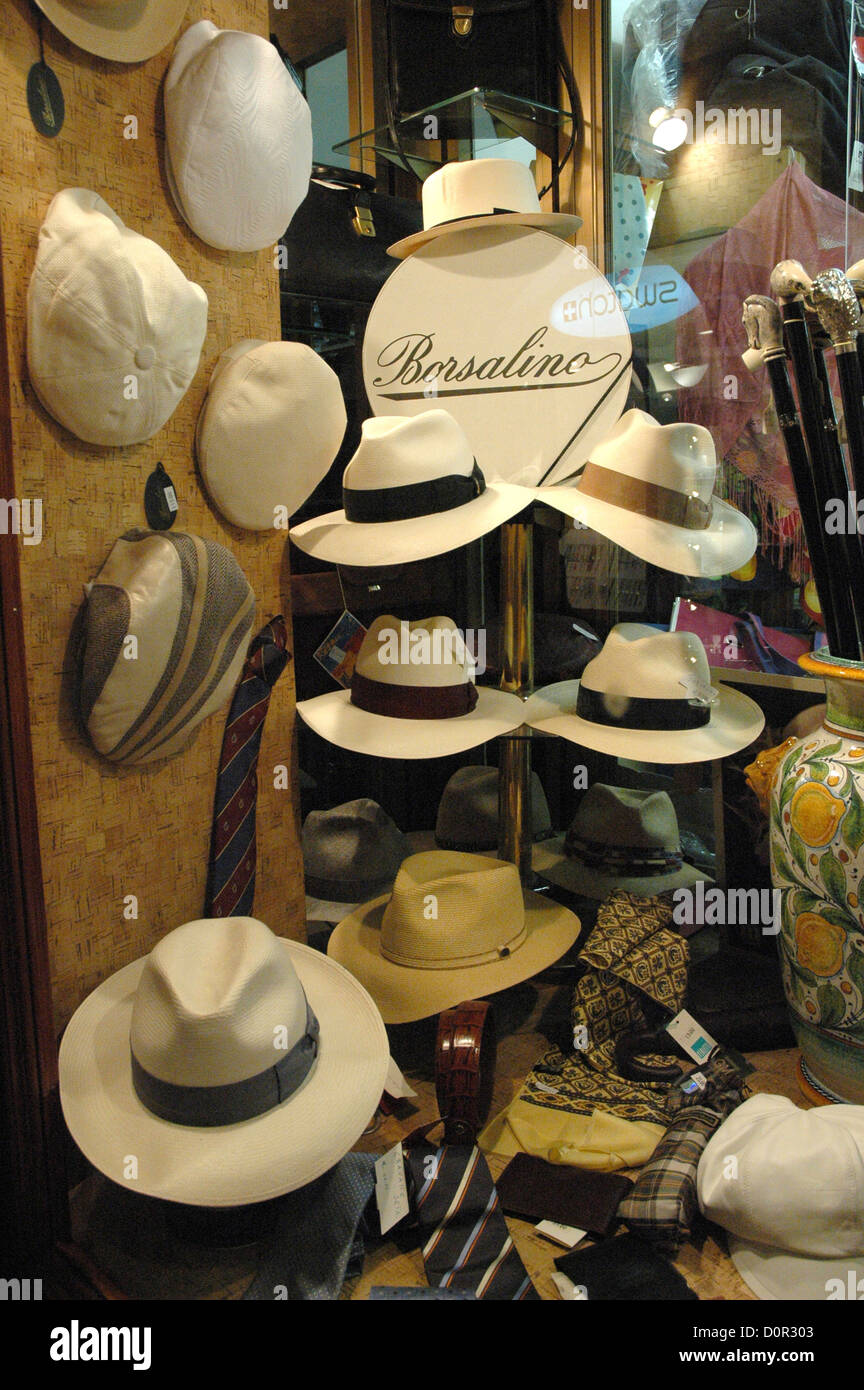 05f6bd10 Mens Borsalino straw hats on display in a Taormina shop Sicily Italy - Stock  Image