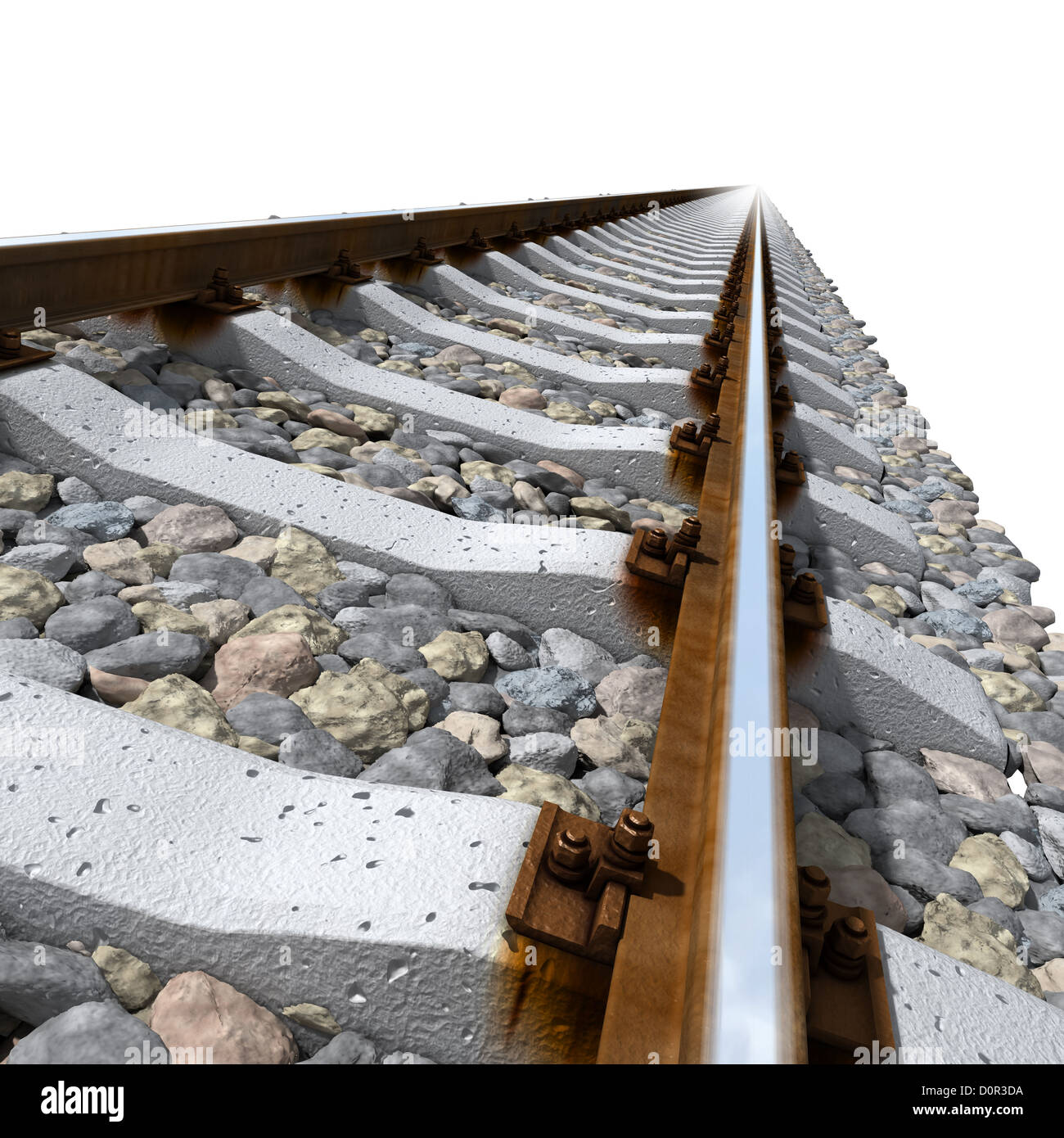 Rails lines on concrete sleepers - Stock Image