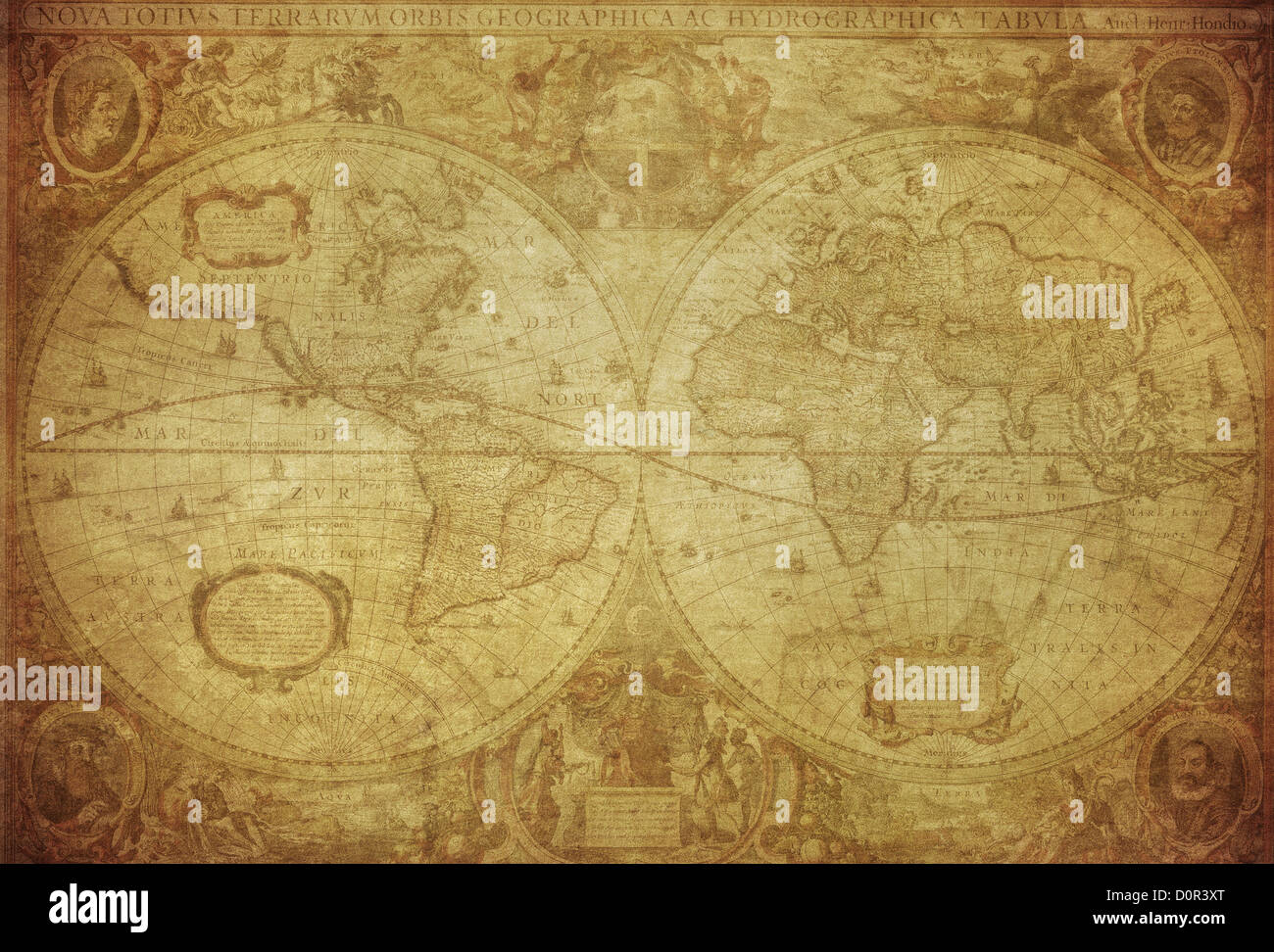 vintage map of the world 1630 - Stock Image