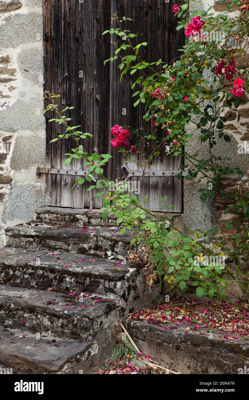 a doorway in Ségur-le-Château, Corrèze, the Limousin, France - Stock Image