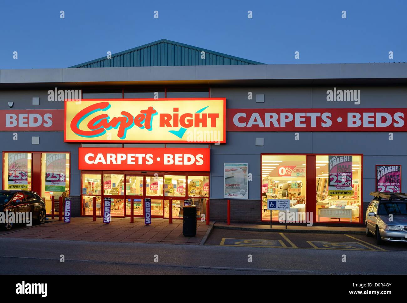 Carpet Right retail unit shop entrance - Stock Image
