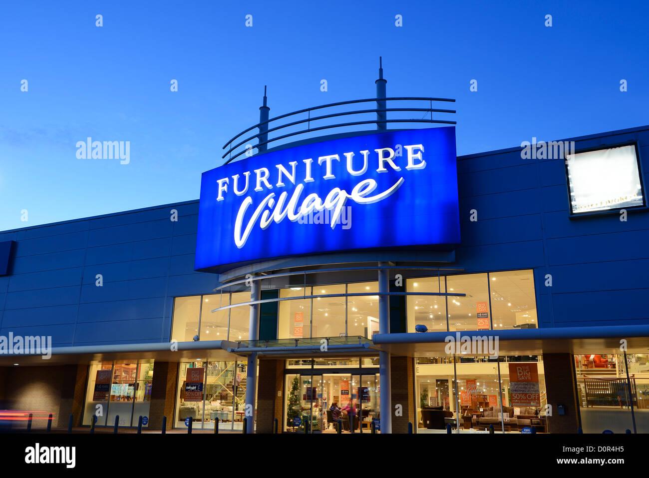 Furniture Village retail unit shop entrance - Stock Image