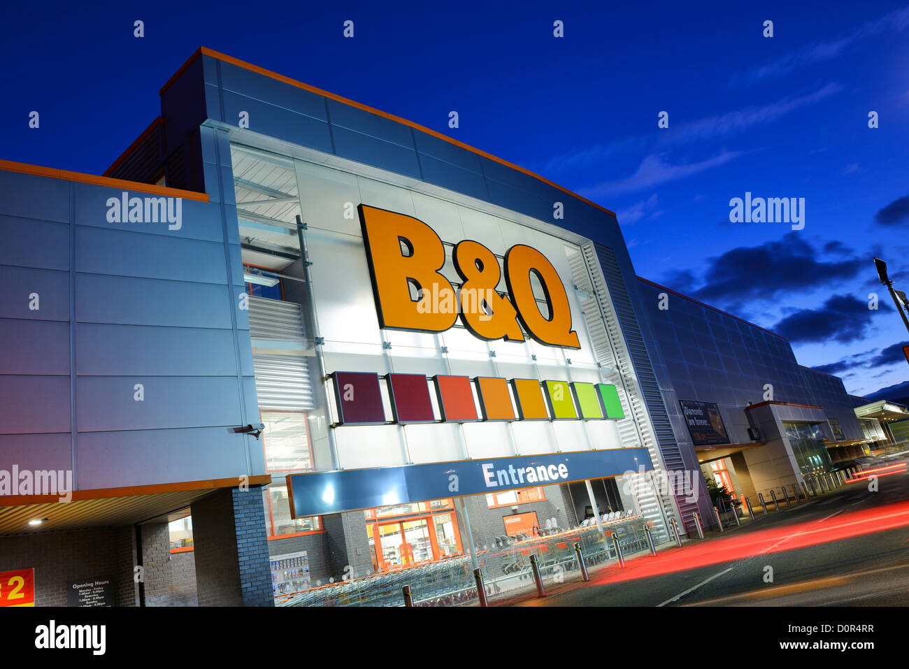B & Q Warehouse entrance sign - Stock Image