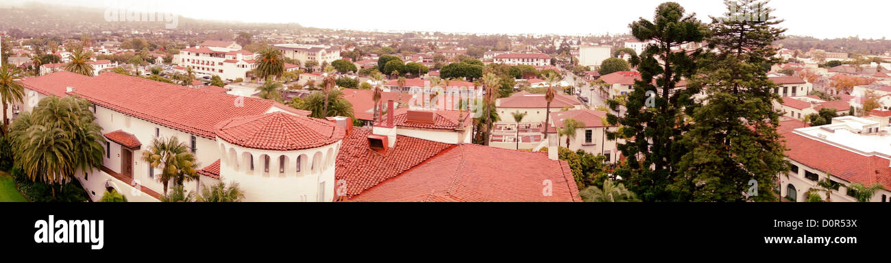 panoramic red tile roofs of Santa Barbara County Courthouse and downtown Spanish architecture; Central California - Stock Image