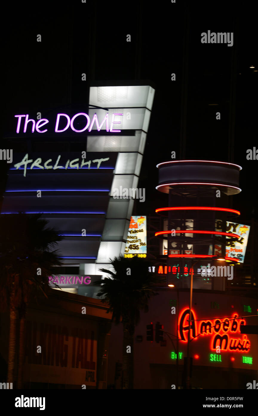 Neon signs at Arclight Cinemas and Amoeba Records in Hollywood, CA - Stock Image