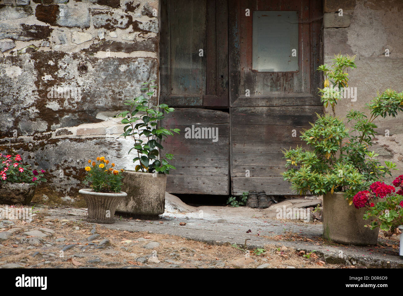 a doorway in Curemonte, Corrèze, the Limousin, France - Stock Image