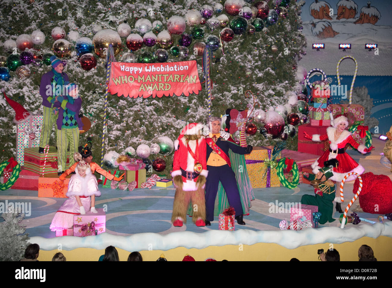 The Grinch performing with the Whos in Whoville at Grinchmas at Universal Studios Hollywood in Los
