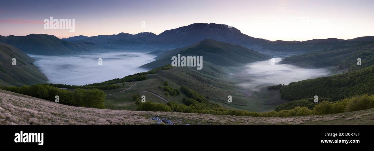 the Piano Grande at dawn, Monti Sibillini National Park, Umbria, Italy - Stock Image