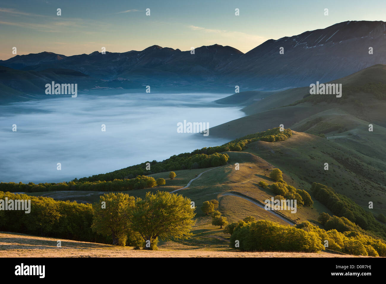 the Piano Grande at dawn, Monti Sibillini National Park, Umbria, Italy - Stock Image