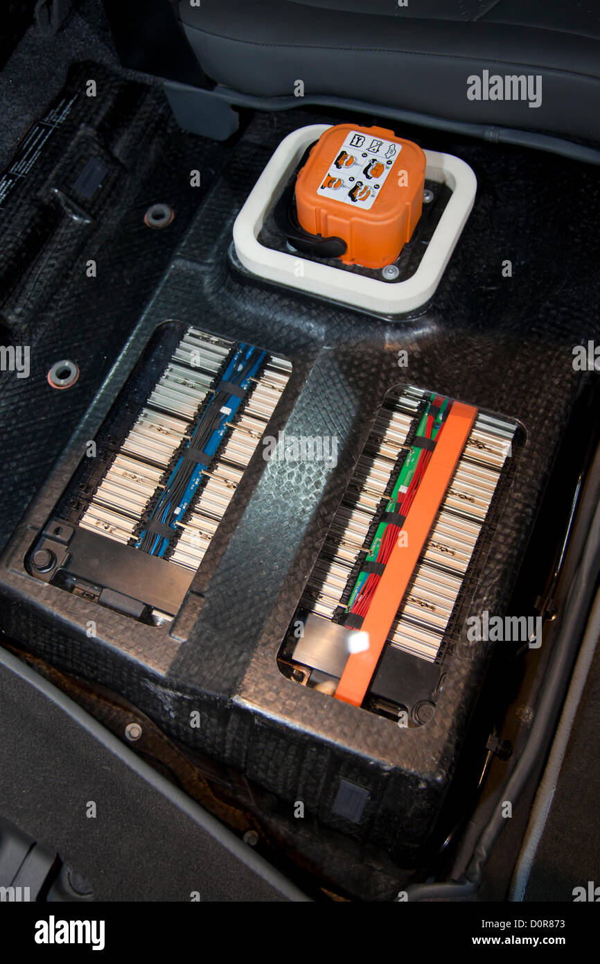 Battery in cutaway of 2013 Chevy Spark EV. New 2013 Electric and Hybrid Green cars are featured at the Los Angeles - Stock Image