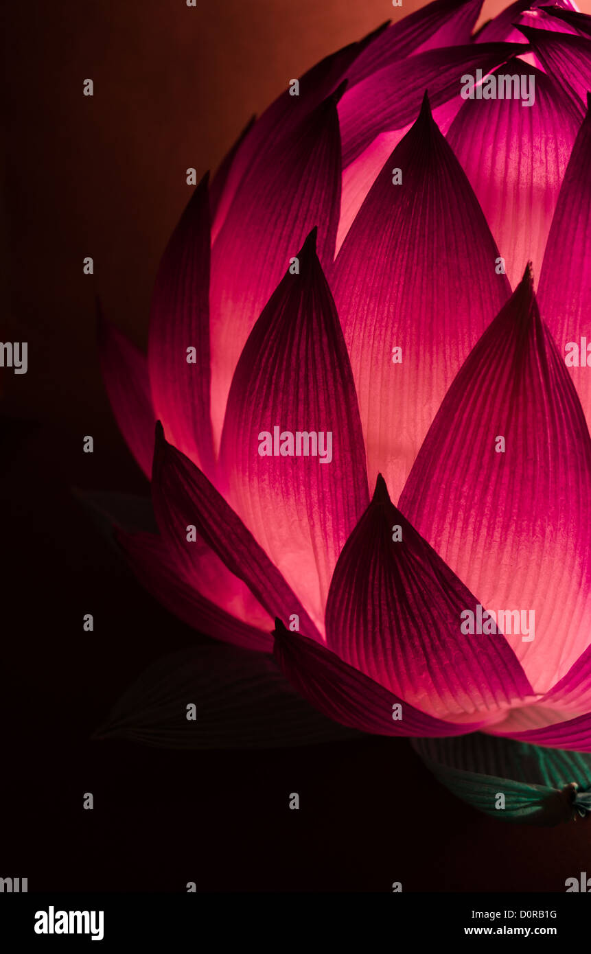 Chinese Lotus Lantern for Mid Autumn Festival in cool tones - Stock Image