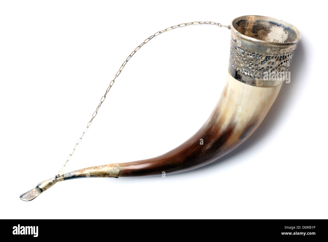 Drinking horn isolated on white - Stock Image