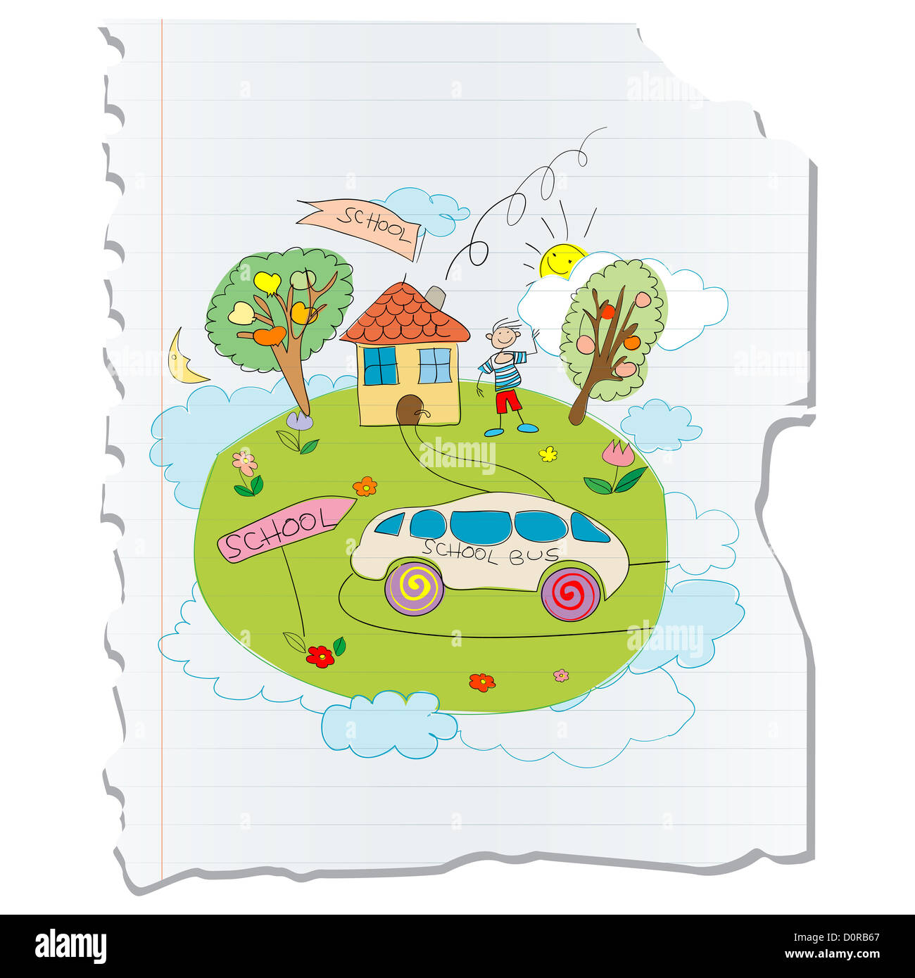Childlike drawing, back to school - Stock Image