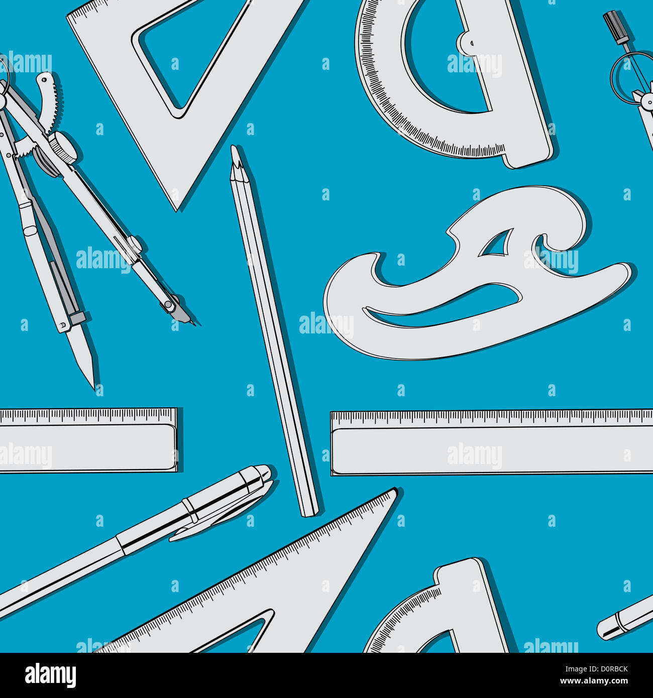 School supplies pattern - Stock Image