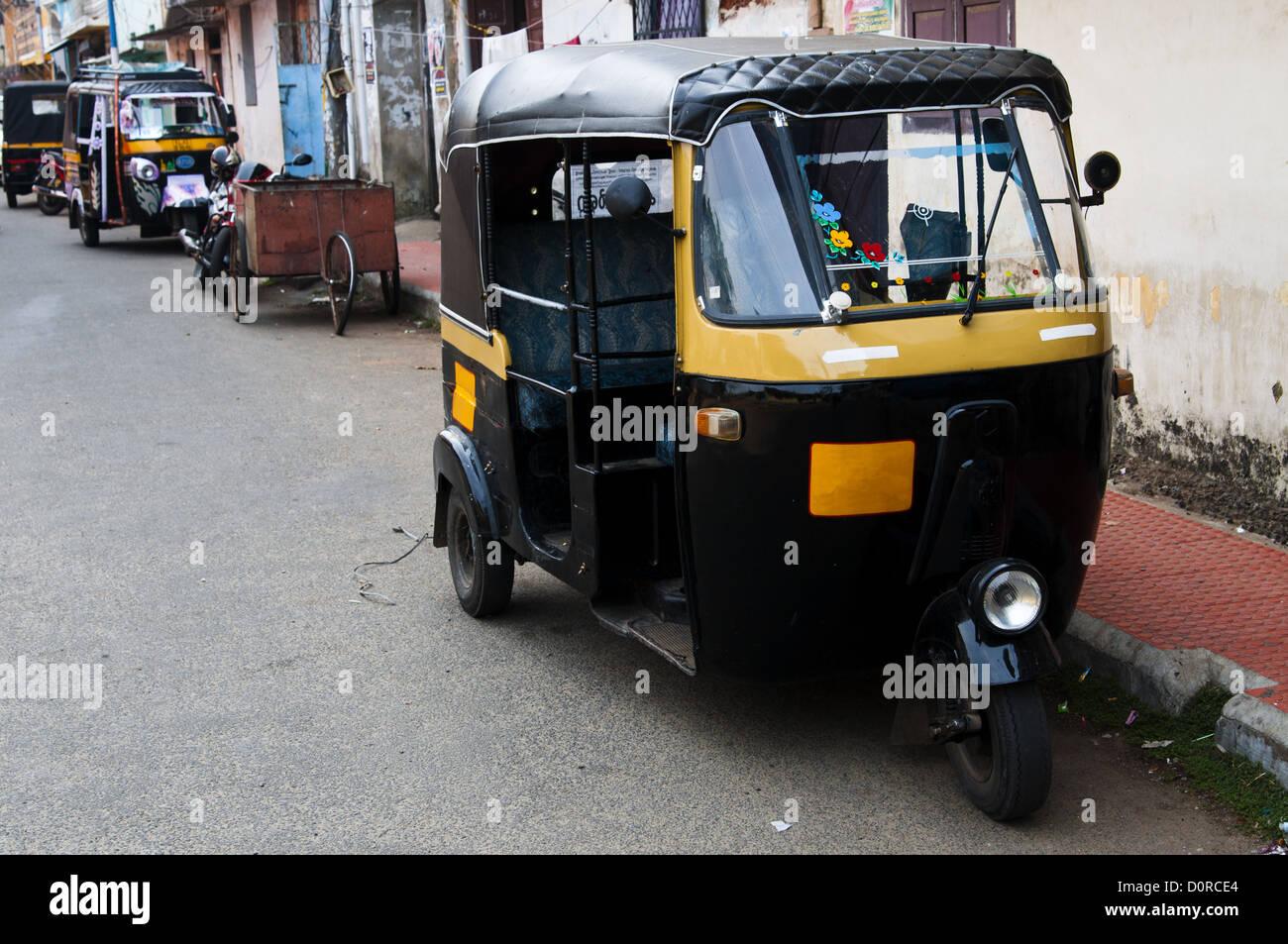 Tut-tuk - Auto rickshaw taxi in Kerala - Stock Image