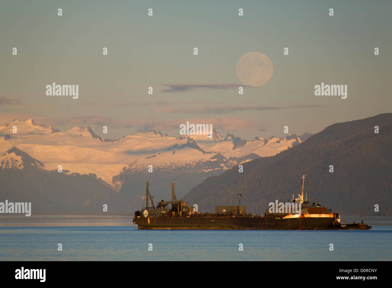 Petro Marine Services barge, Tongass National Forest, Alaska. - Stock Image