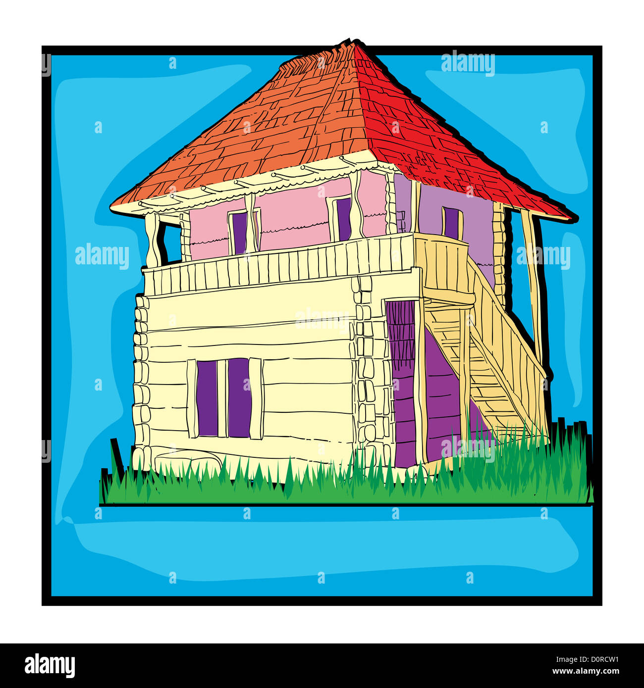 country house clip art - Stock Image
