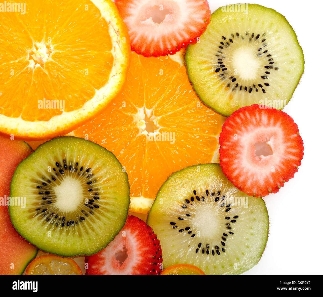 Slices Of Tropical Fruits,Close Up - Stock Image