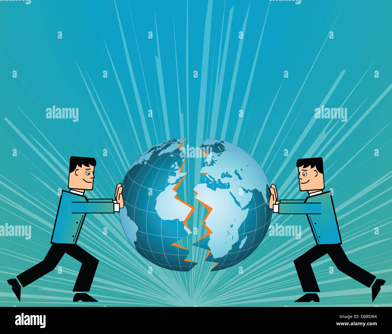 Conceptual image representing the collaboration of two companies - Stock Image