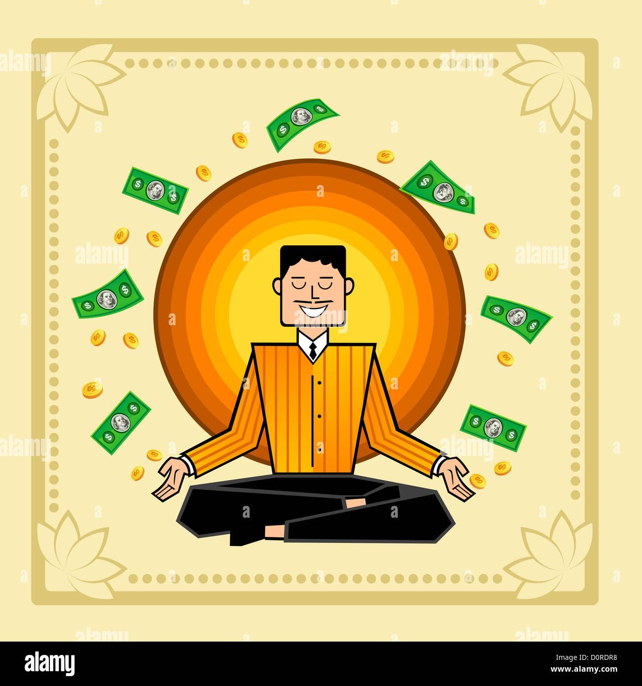 Man meditating with money swirling - Stock Image