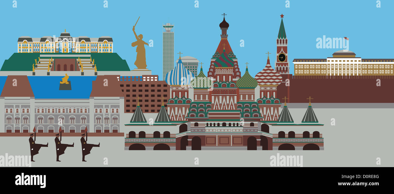 Illustration showing top tourist attractions in Russia - Stock Image