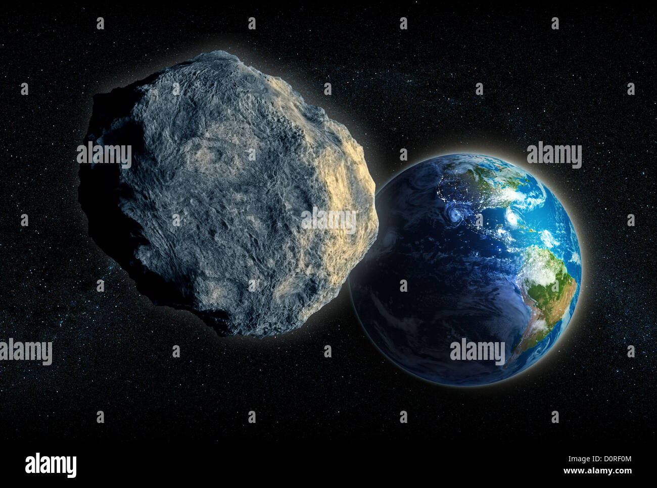 Large Asteroid closing in on Earth Stock Photo