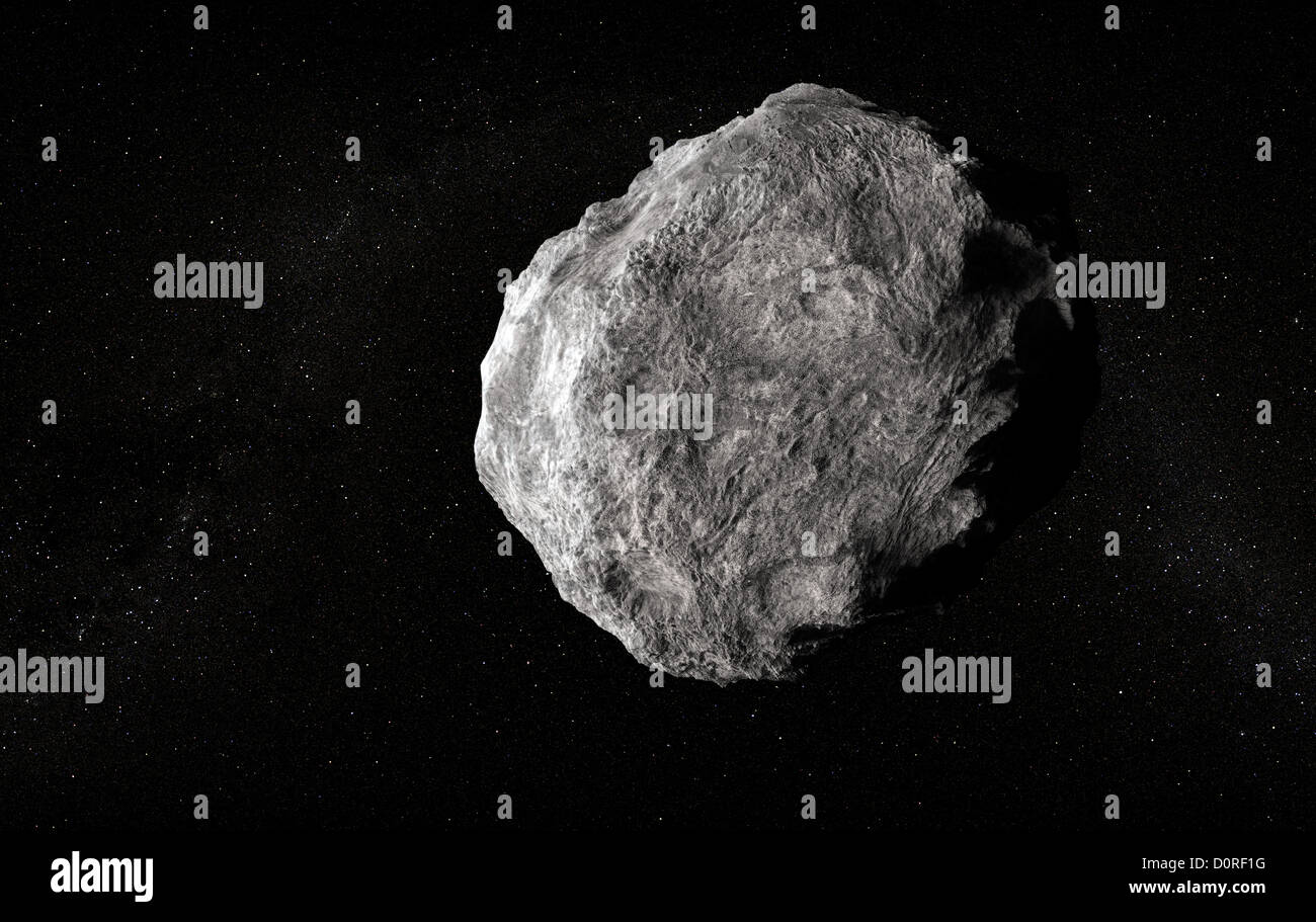 Large planetoid in empty space - Stock Image