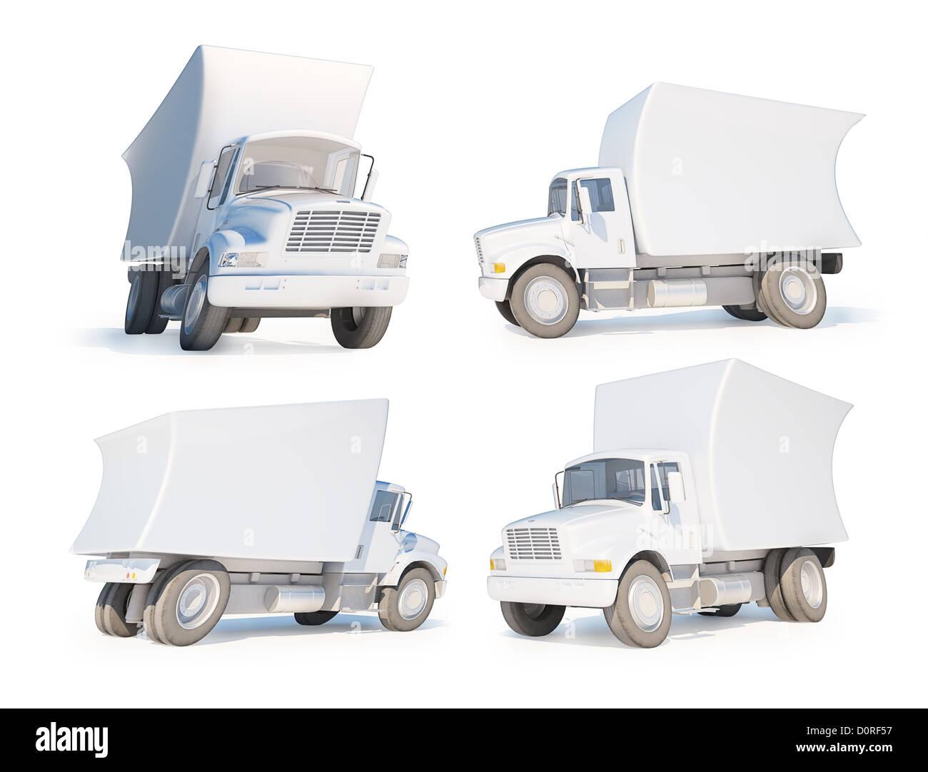 3D Cartoon van - Stock Image