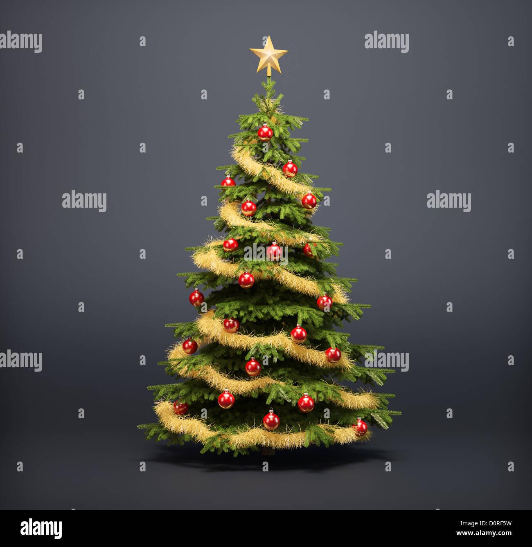 Christmas tree on a dark background - Stock Image
