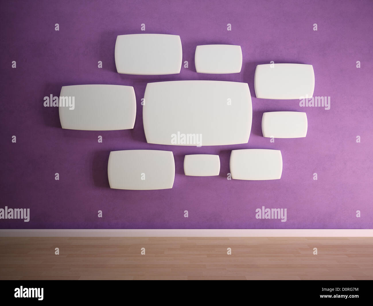 Empty panels on purple wall - Stock Image