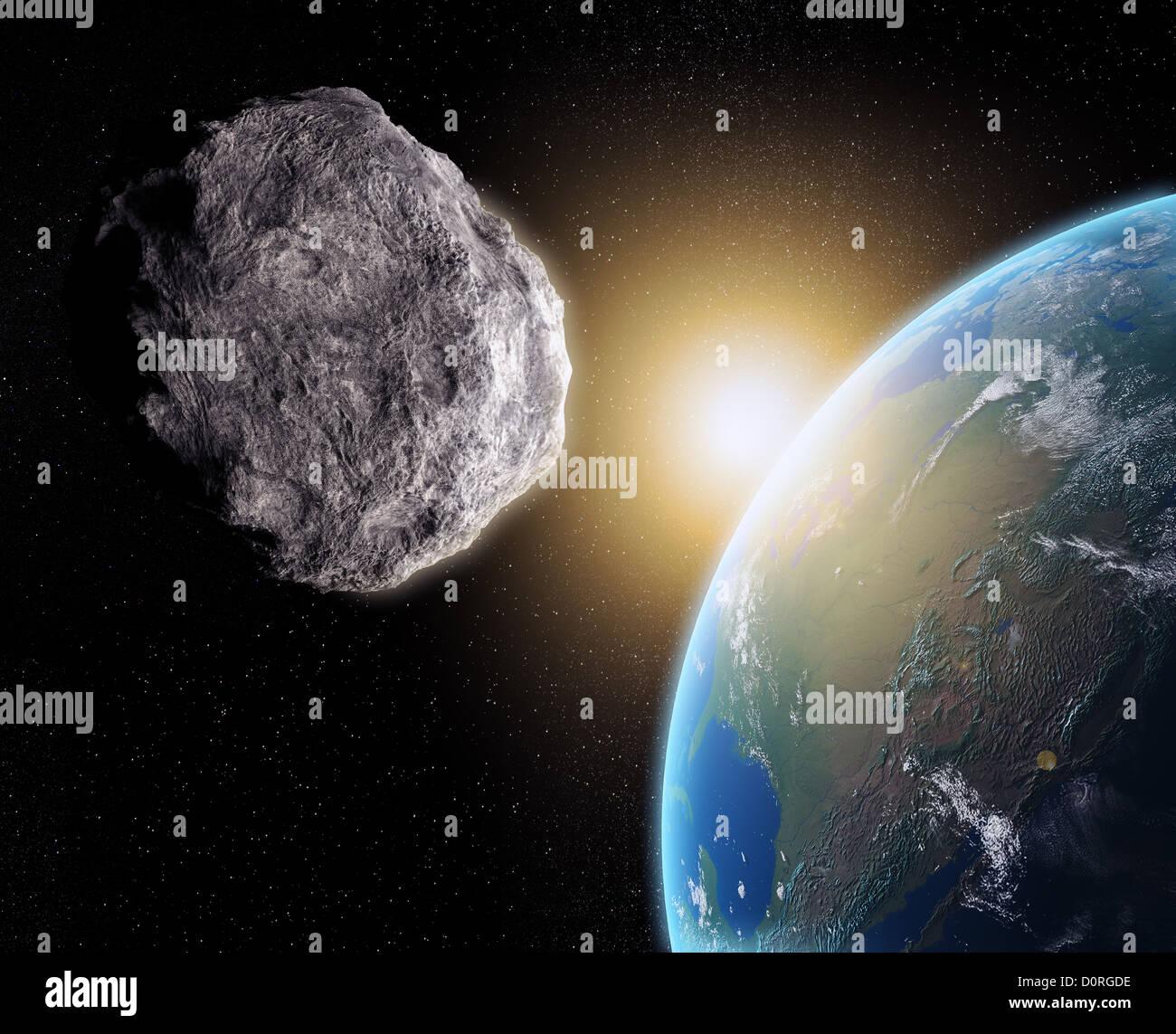 Asteroid near Earth Stock Photo