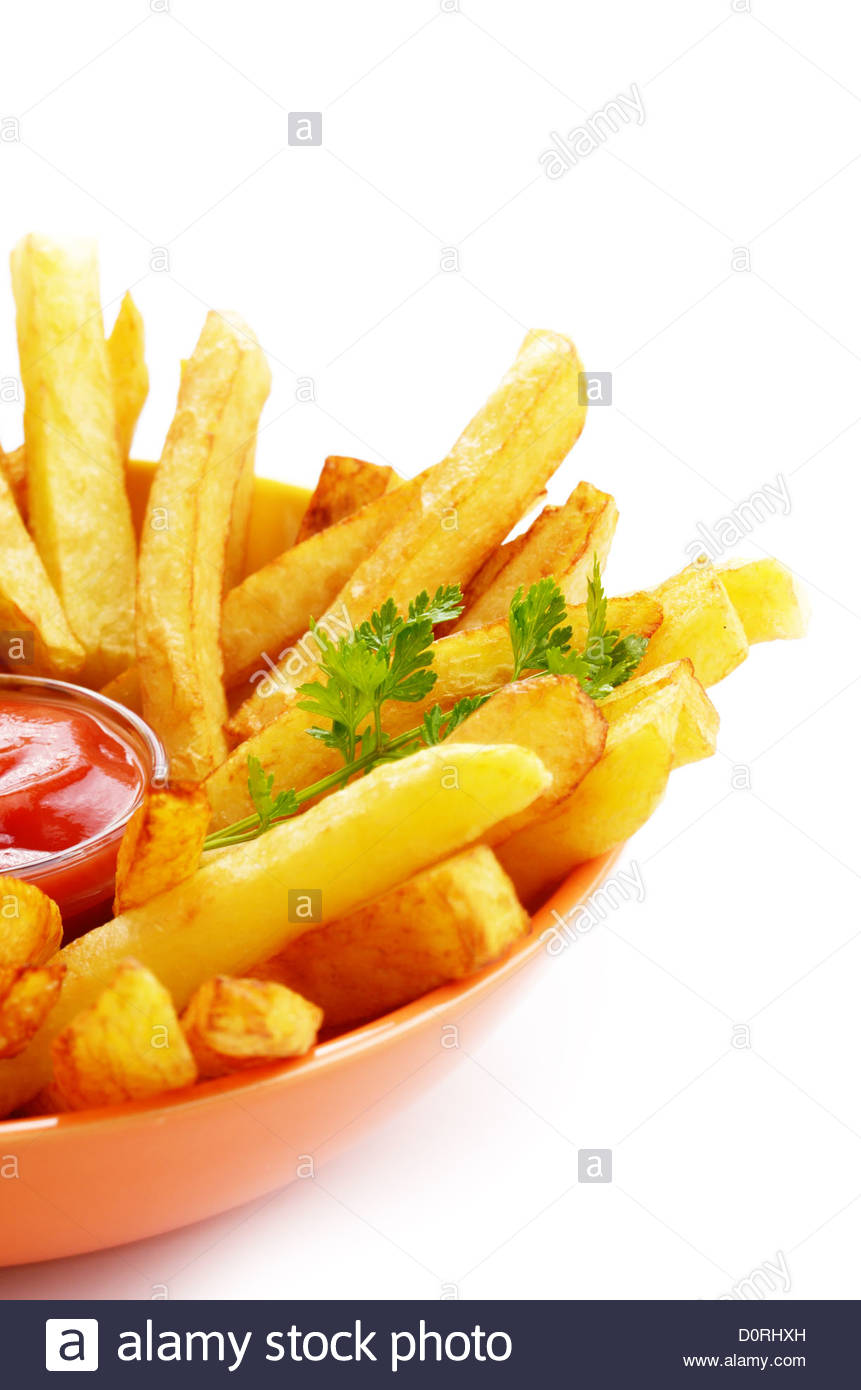 French fries with ketchup - Stock Image