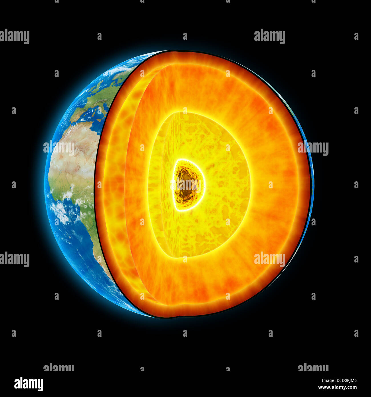 Earth cut-away - Stock Image