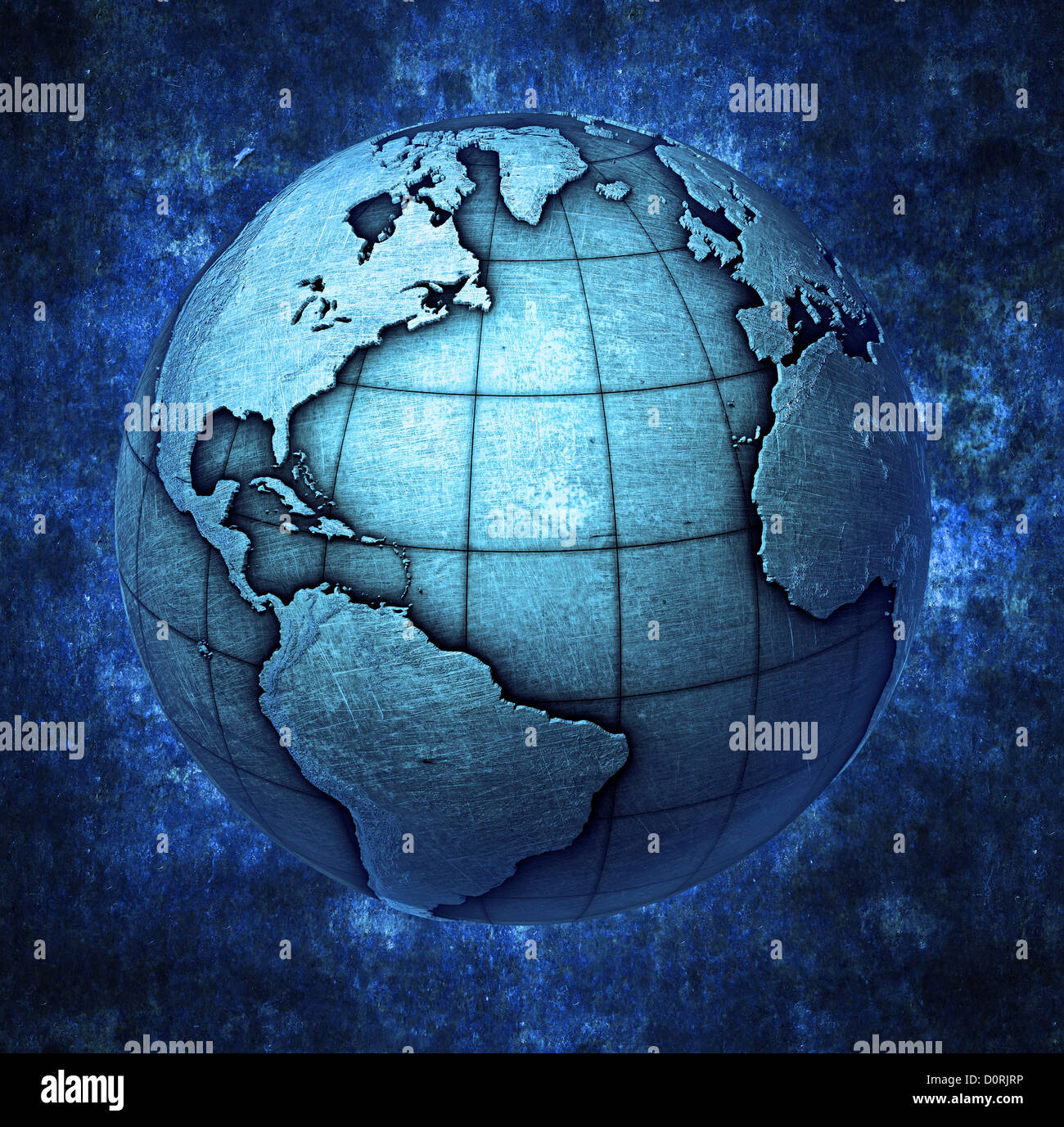 3D metallic Earth - Stock Image