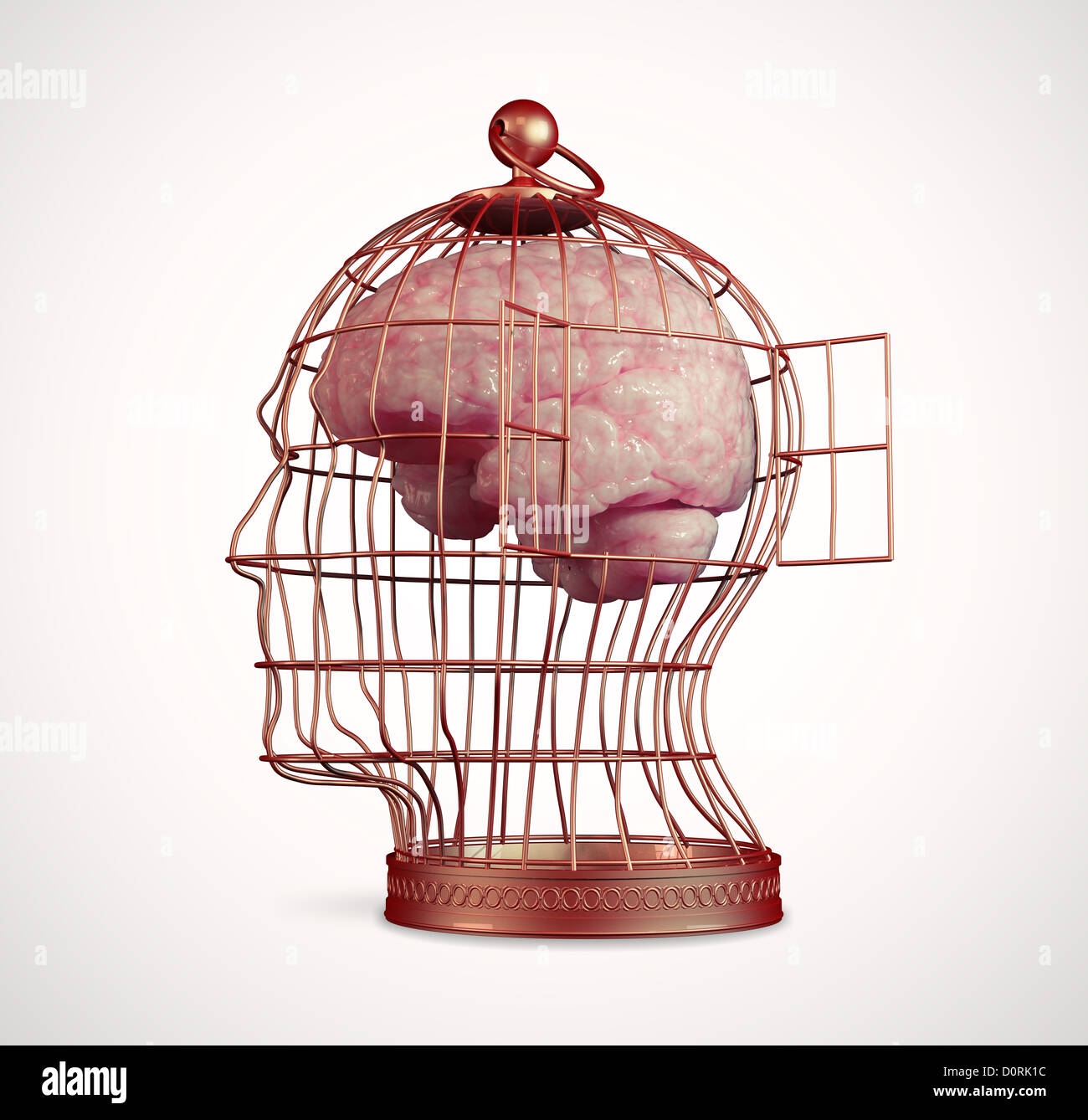 Brain inside a cage - Stock Image
