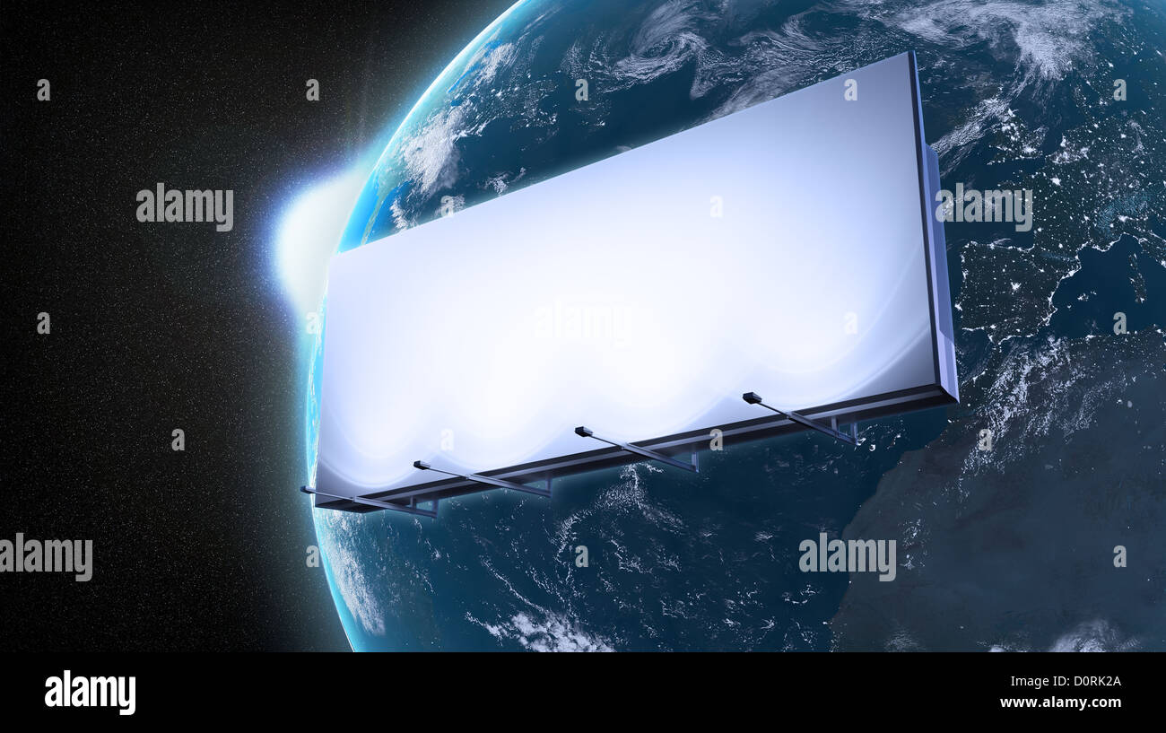 Ad billboard orbiting Earth - Stock Image