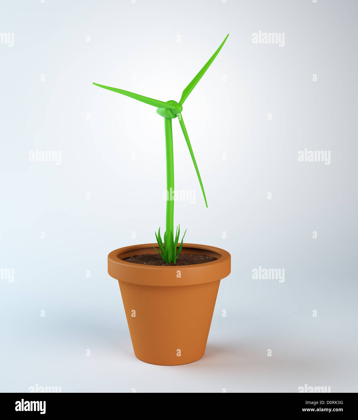 wind turbine growing out of a pot plant - Stock Image