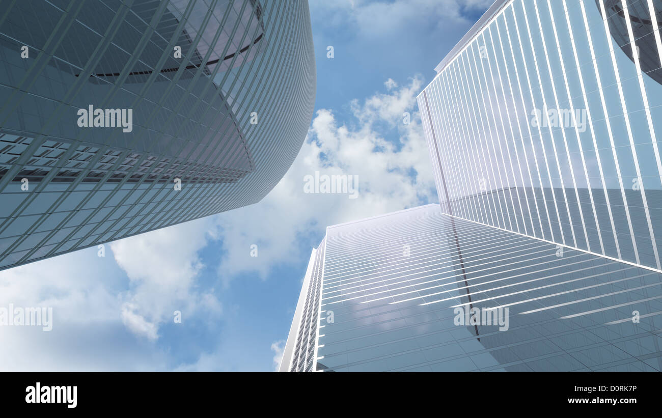View at highrise office buildings - Stock Image