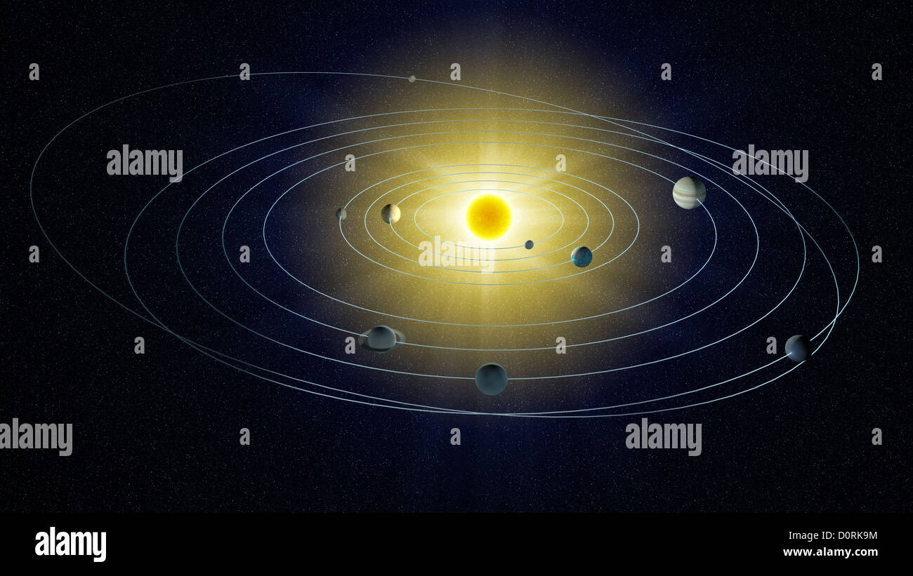 stylized view of the Solar system. - Stock Image