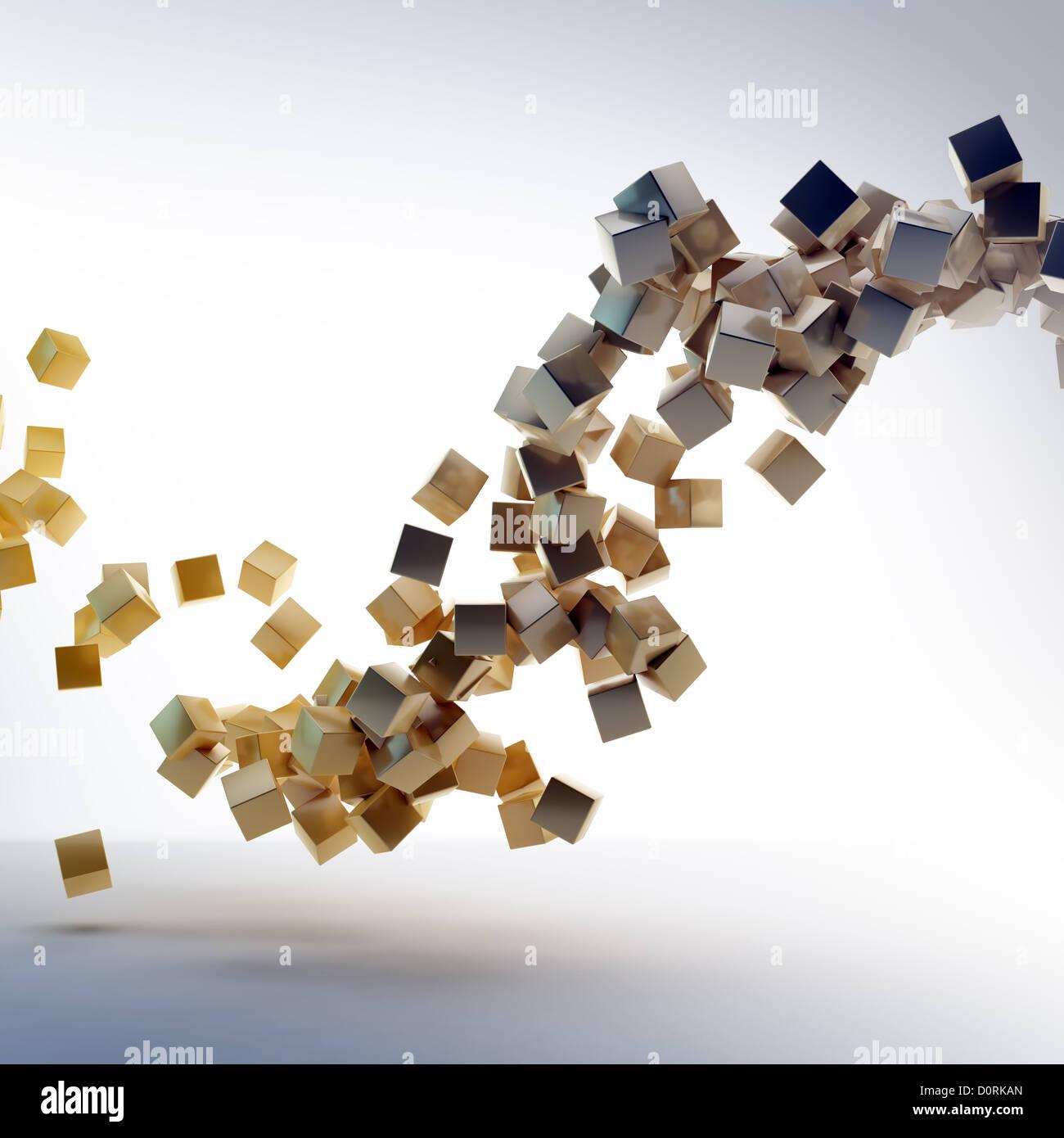 flying shiny cubes - Stock Image
